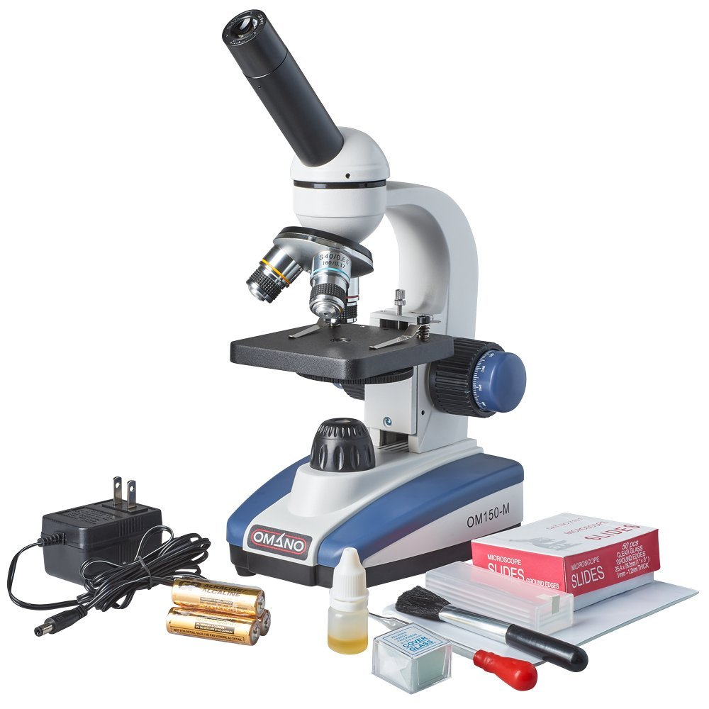 Omano OM150-MK 40X-400X Premium Monocular Compound LED Student Microscope & Accessory Kit by Omano (Image #1)