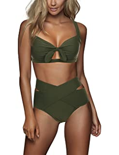 0517d29684 FeelinGirl Women's Sexy Criss Cross Swimsuit High Waist Bandage 2PCS Bikini  Set