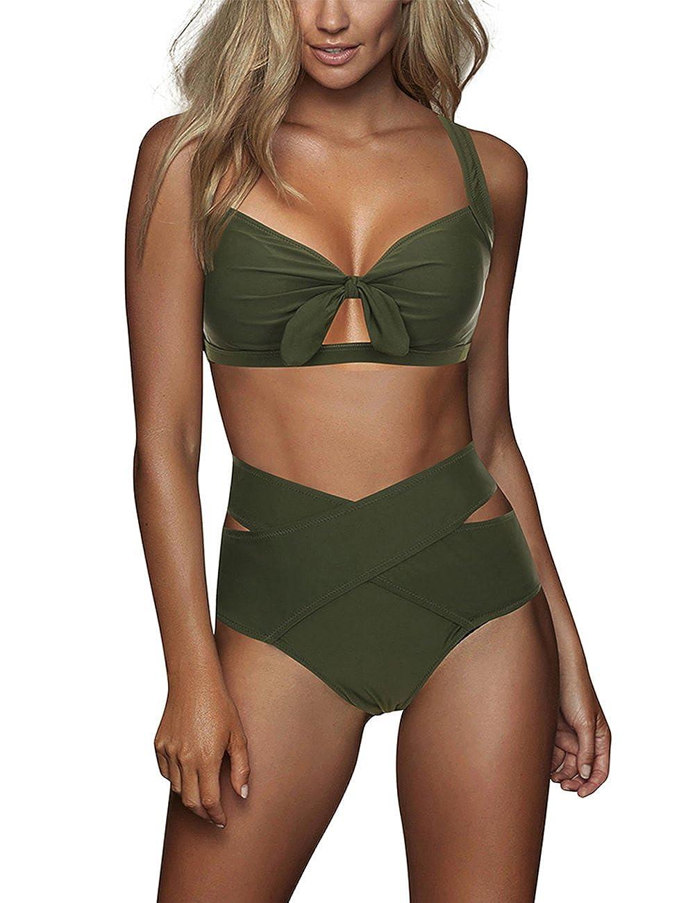 Feelin Girl Women's Sexy Criss Cross High Waist Bandage 2 Pcs Bikini Set Swimsuit by Feelin Girl