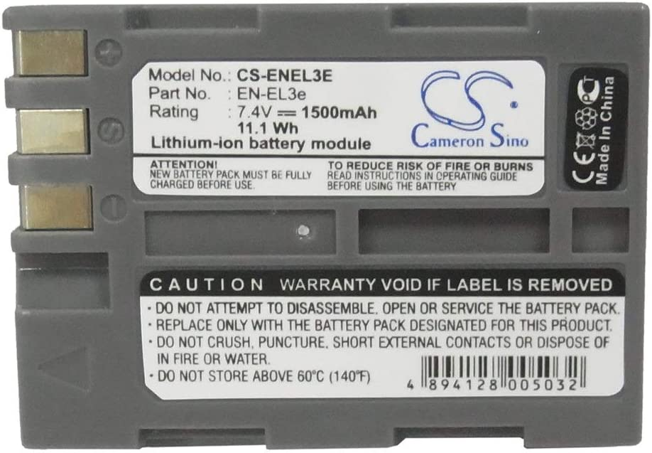 Color : Gray, Size : 55.90 x 39.56 x 20.75mm Battery Camera 1500mAh//11.10Wh 7.4V Camera Battery for Nikon EN-EL3 EN-EL3a D100 D100 SLR D50 Photo Battery