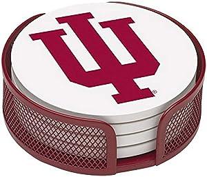 Thirstystone Stoneware Drink Coaster Set with Holder, Indiana University