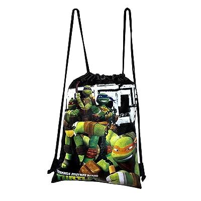 Disney Teenage Mutant Ninja Turtle Drawstring String Backpack School Sport Gym Tote Bag - Black: Clothing [5Bkhe0705958]