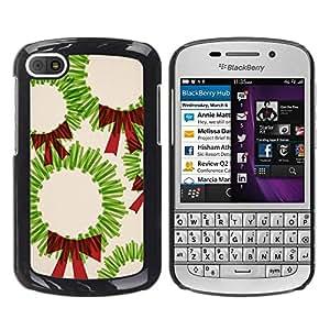 FECELL CITY // Duro Aluminio Pegatina PC Caso decorativo Funda Carcasa de Protección para BlackBerry Q10 // Christmas Art Drawing Green Red Bow
