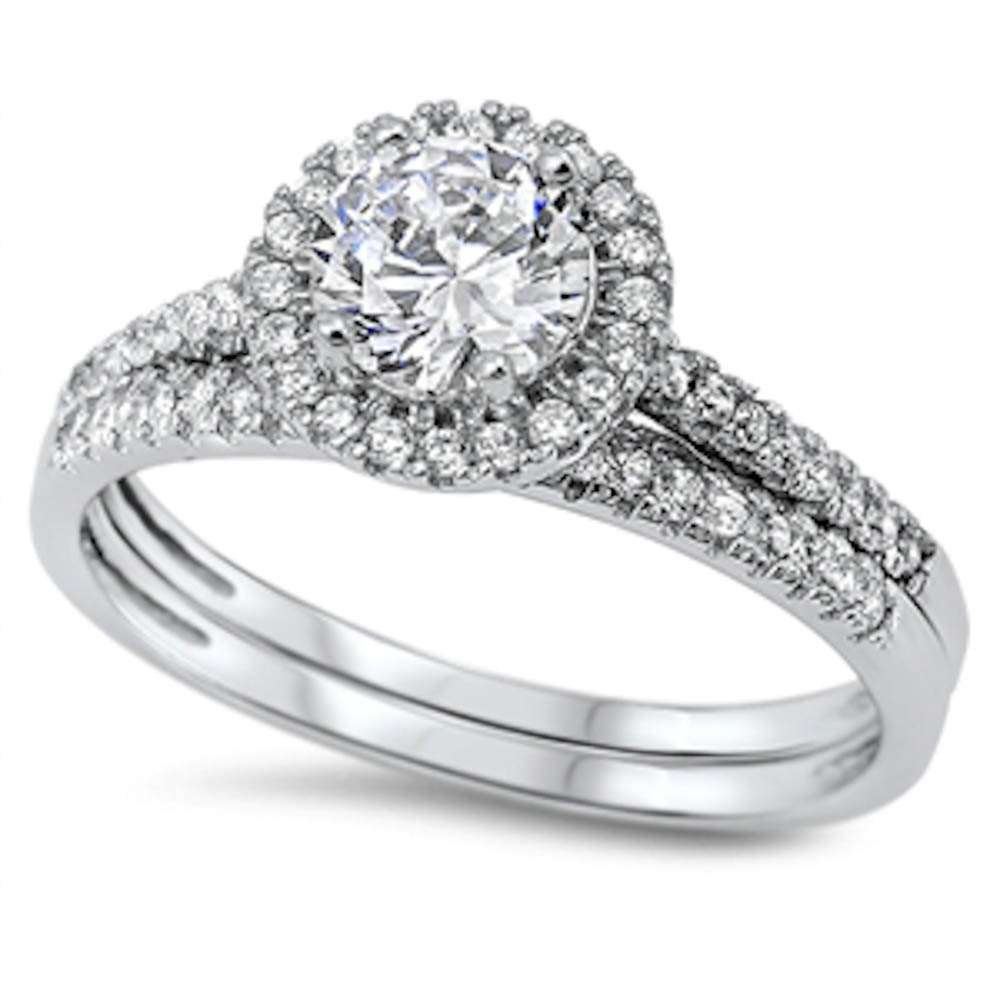 Round Halo Cz Wedding Set .925 Sterling Silver Ring Size 8