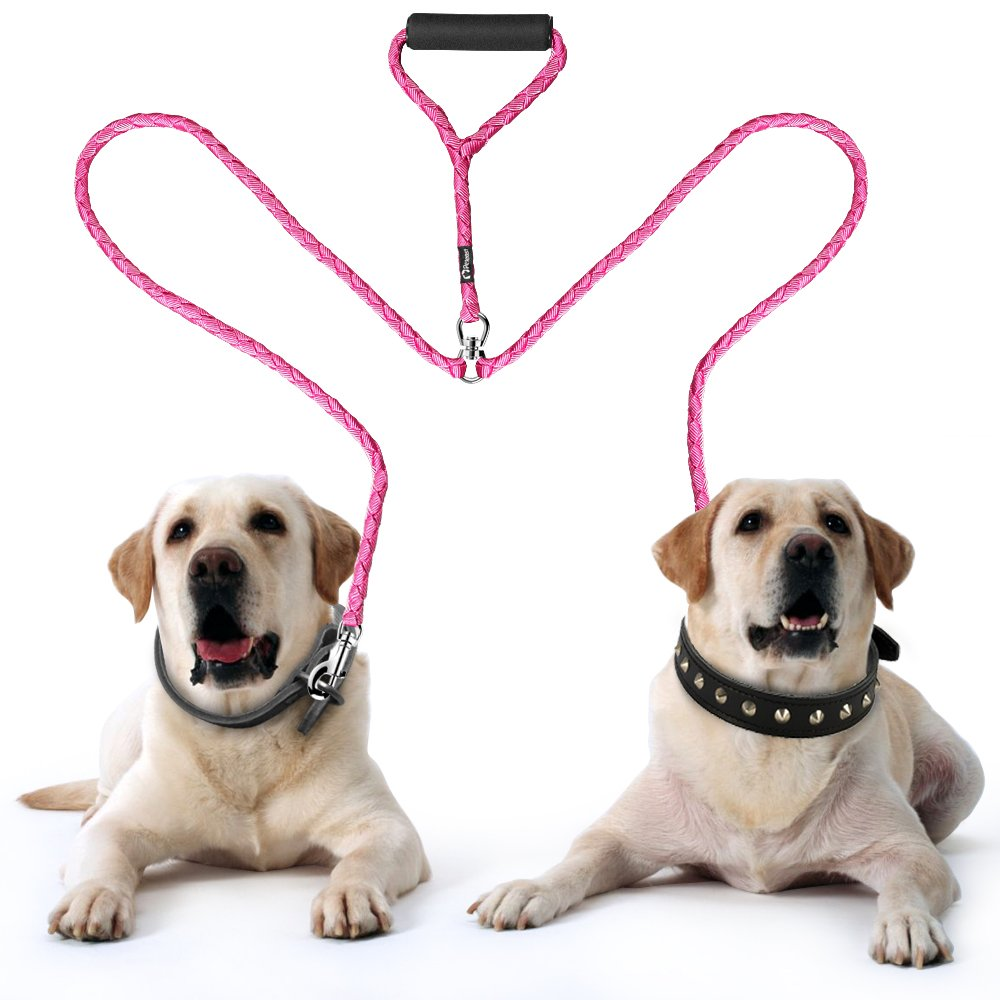 Walking /& Training Leash Two Dogs,2019 Upgraded Adjustable Heavy Duty Double Leash for Dogs Dual Dog Leash 360/°Tangle Free /& Soft Handle Two Dog Leash Peteast Double Dog Leash