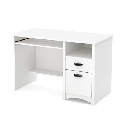 White computer desk Tiny Image Unavailable Amazoncom Amazoncom South Shore 7360070 Computer Desk With Drawers And