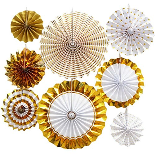 Gold Party Decorations Hanging Tissue Paper Fans Fiesta Party Supplies for Wedding/Birthday/Festival/Christmas/Event Party and Home Decorations (8pcs/Set)