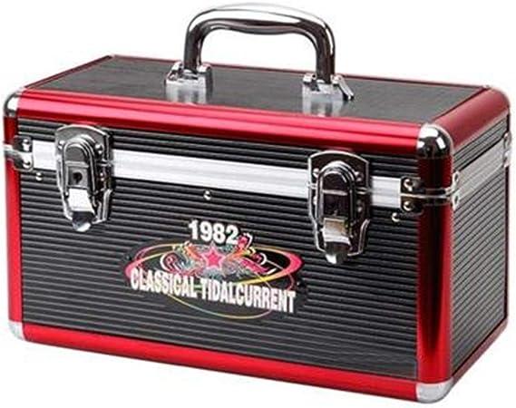PUCLST Las Cajas Jugador Estuche de Almacenamiento del Disco de Vinilo del álbum Aluminio LP Tocadiscos Cajas for Records Tiene Capacidad for hasta 220 (Color : Negro, tamaño : 34X16.5X19.5CM): Amazon.es: Hogar