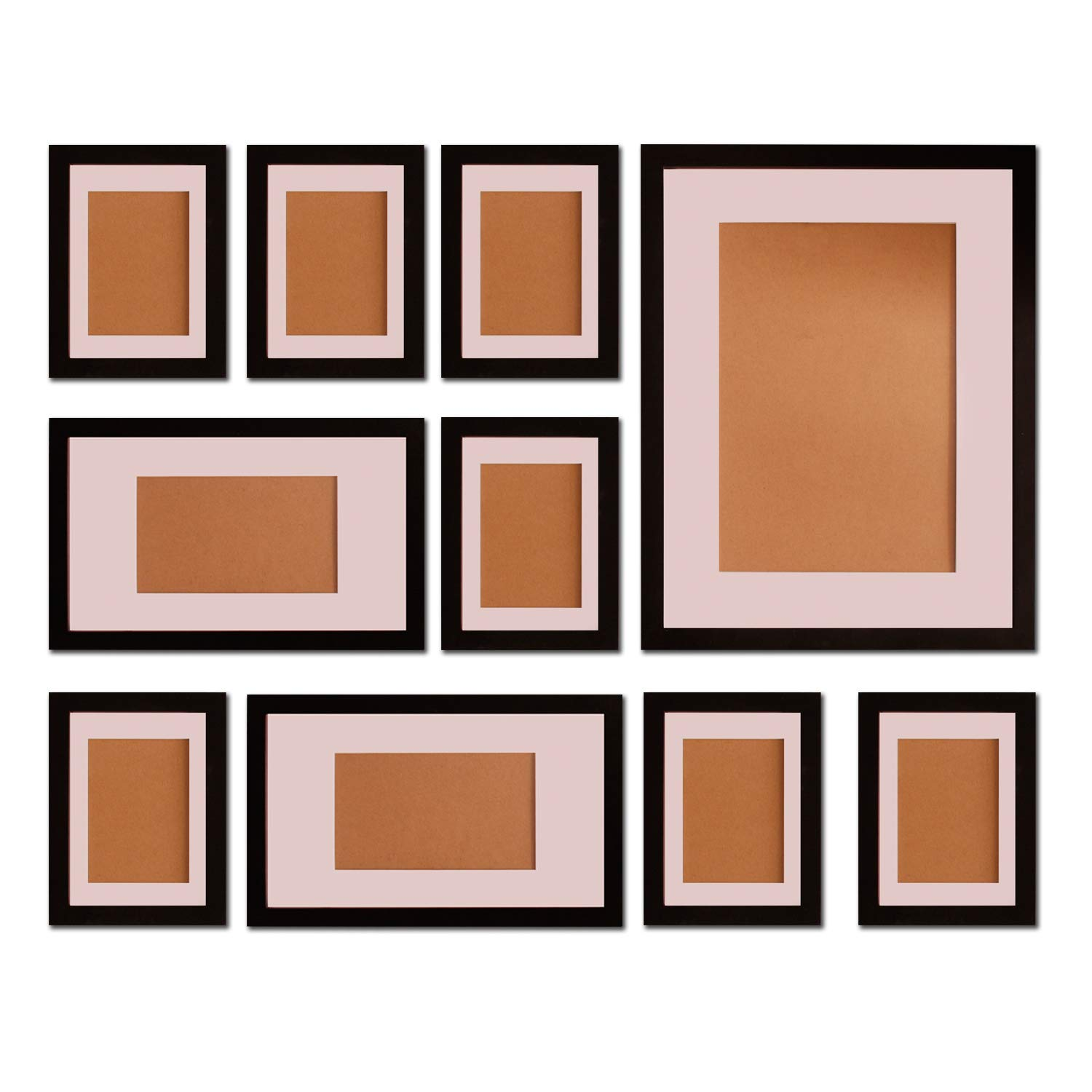 FUNTRESS 10 Pieces Gallery Wall Photo Frames Set for Wall 16'' 12'' 7'' Size Wooden Combination Pictures Frames Baby Room Living Room with Mats(Black) by FUNTRESS