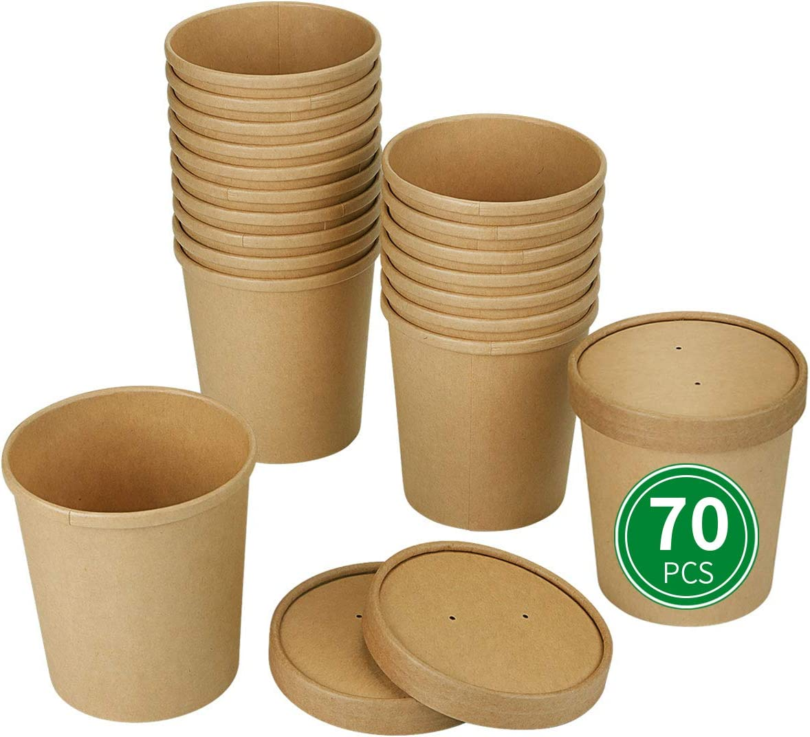 Bloomoon Take Out Containers with Lids 16oz (70 pack) Disposable Heavy Duty Kraft Paper Soup Containers, Ice Cream Cups, Togo Boxes, Catering Party Supplies