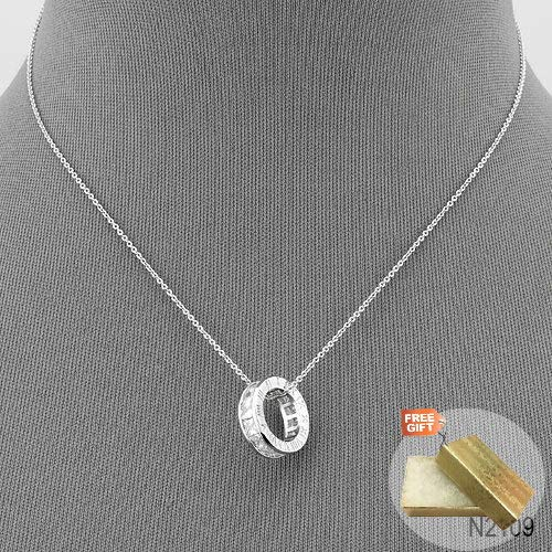 Gold Cotton Filled Gift Box for Free Silver Finish Roman Numeral Cubic Zirconia Designer Inspired Pendant Necklace
