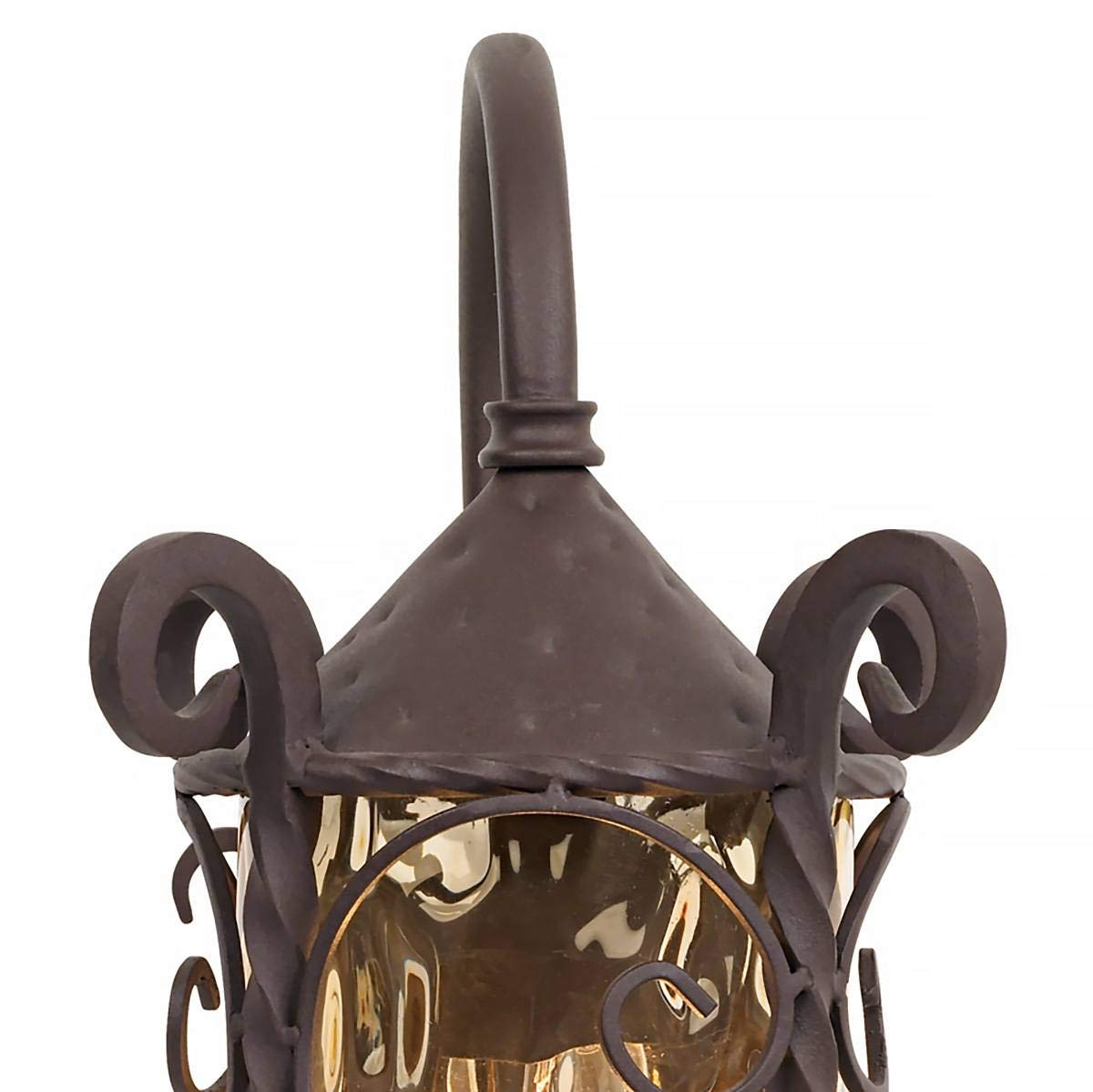 Casa Seville Rustic Outdoor Wall Light Fixture Mediterranean Inspired Dark Walnut Iron Twists 18 1/2'' Champagne Hammered Glass for Exterior House Porch Patio Deck - John Timberland by John Timberland (Image #5)