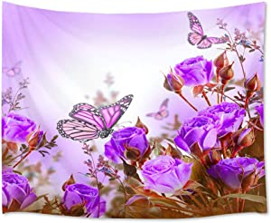 HVEST Rose Flower Tapestry Purple Butterflies and Flowers in Garden Wall Hanging Floral Tapestries for Bedroom Living Room Dorm Party Decor,60Wx40H inches