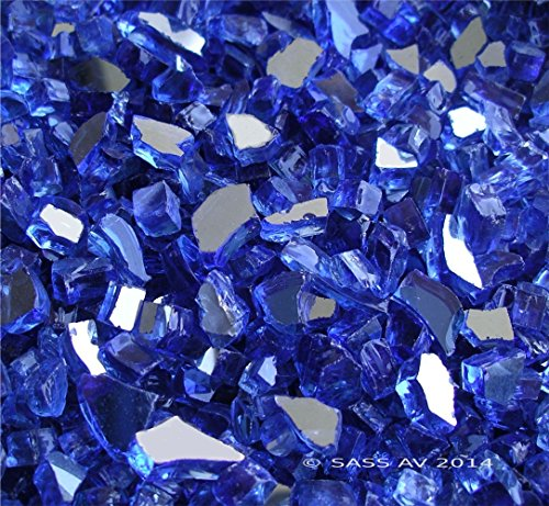 Cheap Fireglass Fireplace Fire Pit Glass, ~1/4″ Cobalt Reflective Cr., 25 LBS