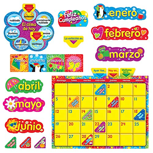 Wipe-Off Stars 'n Swirls Calendar (Cling) (Spanish) Bulletin Board Set