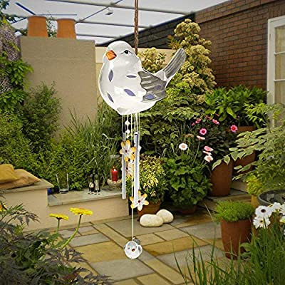 Tom David Lewis Sitting Bird Wind Chime - Solar LED, Porcelain & Steel. …