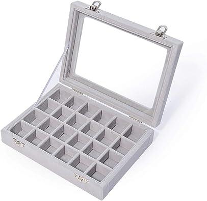 JZK 24 Compartimentos Organizador Caja Terciopelo Bandeja Gris con Tapa de Cristal para joyero Anillos Pulsera Collar Pendientes: Amazon.es: Joyería