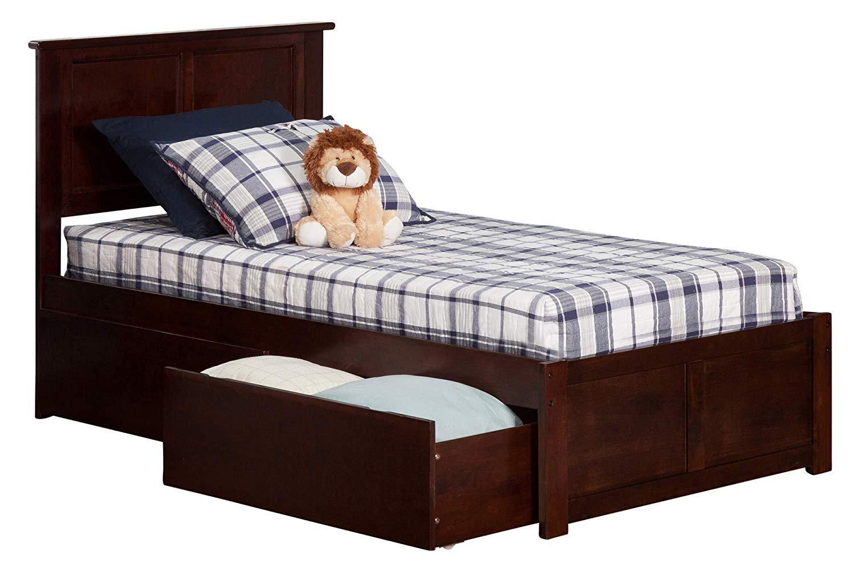 Atlantic Furniture Madison Platform Bed with 2 Urban Bed Drawers, Twin XL, Walnut