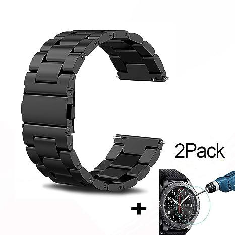 FOURCHEN Compatible Samsung Gear S3 Reloj Correa, Samsung Galaxy Watch (46mm) Acero Inoxidable