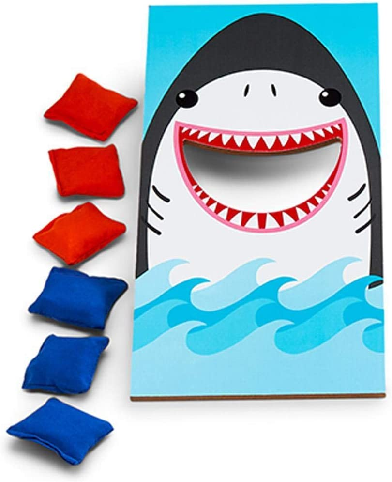 Two's Company Shark Desktop Bean Bag Toss Game in Gift Box, 10.5-inch High, One Size, Multicolor