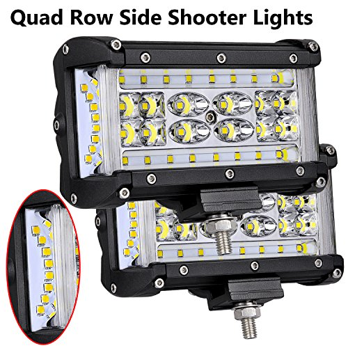 LED Pods, Moso LED 5 inch Dually Sided Side Shooter Quad Row LED Fog Lights CREE LED Spot Flood Combo Light Bar Waterproof Off Road Light LED Work Light for Truck UTV ATVs SUV Boat, 3 Years Warranty