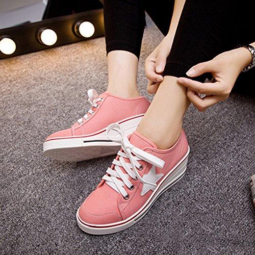 Padgene Kvinna Duk Högklackade Skor Snör Åt Upp Mode Sneakers Plattform Kilar Pump Skor Rosa 2