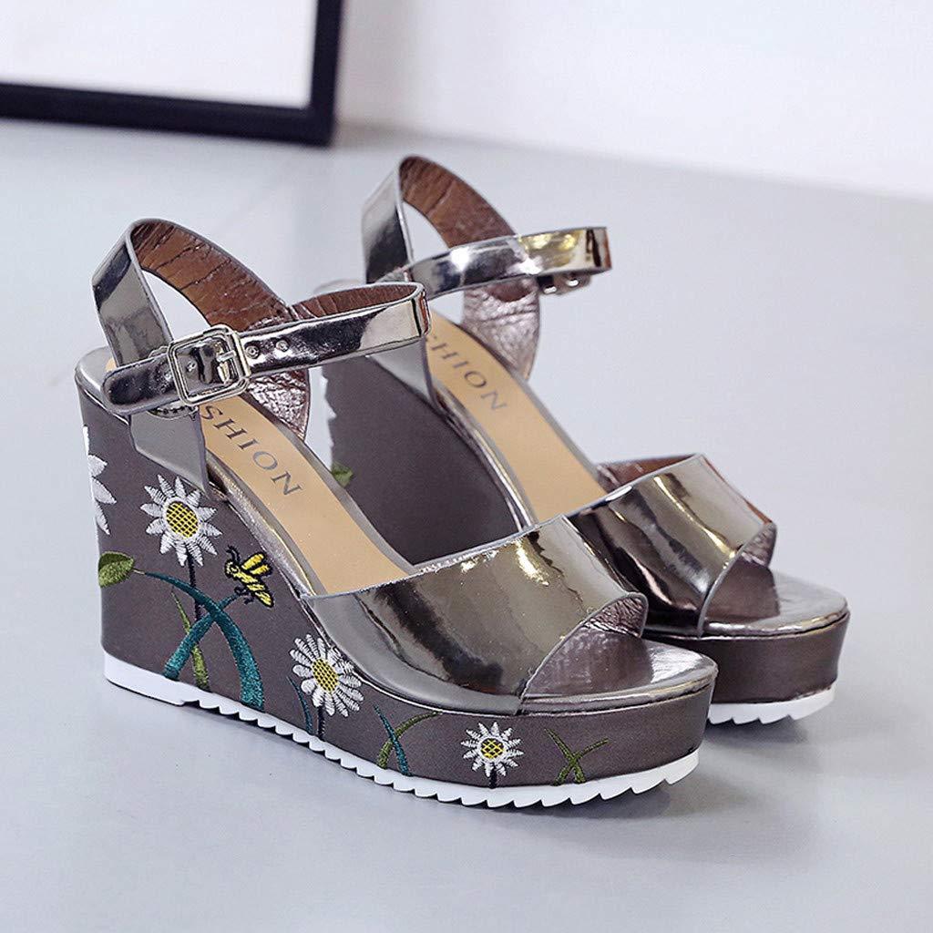 HULKAY 2019 New Wedge Sandals丨Womens Summer Beach Fish Mouth Sandals丨Ankle Strap Buckle Bottomed Sandals for Women
