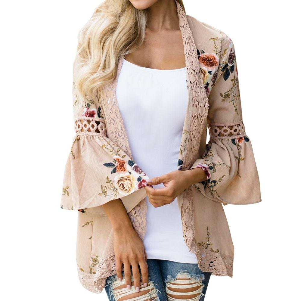 GBSELL Hippie Women Floral Lace Loose Shawl Kimono Cardigan Cover up Blouse (Khaki, L)