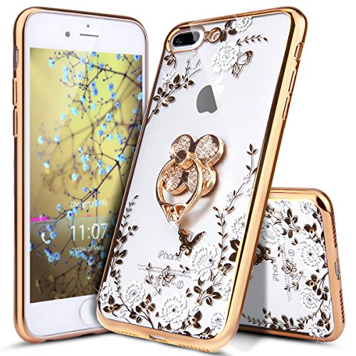 Price comparison product image iPhone 8 Plus Case, iPhone 7 Plus Case, ikasus [Glitter Crystal Plating Butterfly Floral] Bling Diamond Rhinestone Clear TPU Case Cover for iPhone 8 Plus / 7 Plus,  Gold White Flower, Clover Ring Stand
