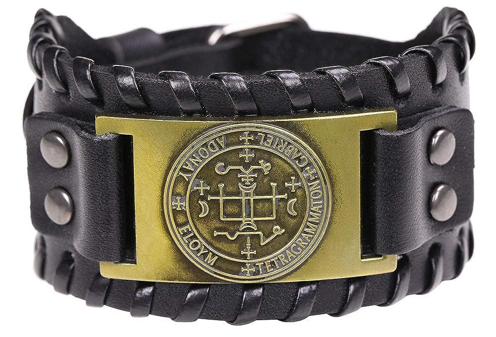 The Sigil of The Archangel Gabriel for Happy Childhood Talisman Bangle Leather Bracelet