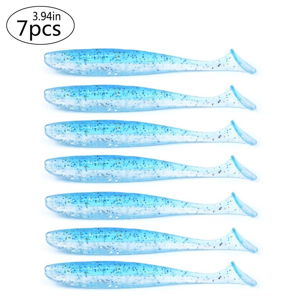East Rain Transparente Pececillo Bait Suave con Cola para se/ñuelos de Pesca adecuados para Todo Tipo de Aparejos PVC, 10cm//4.8g,7pcs//Pack