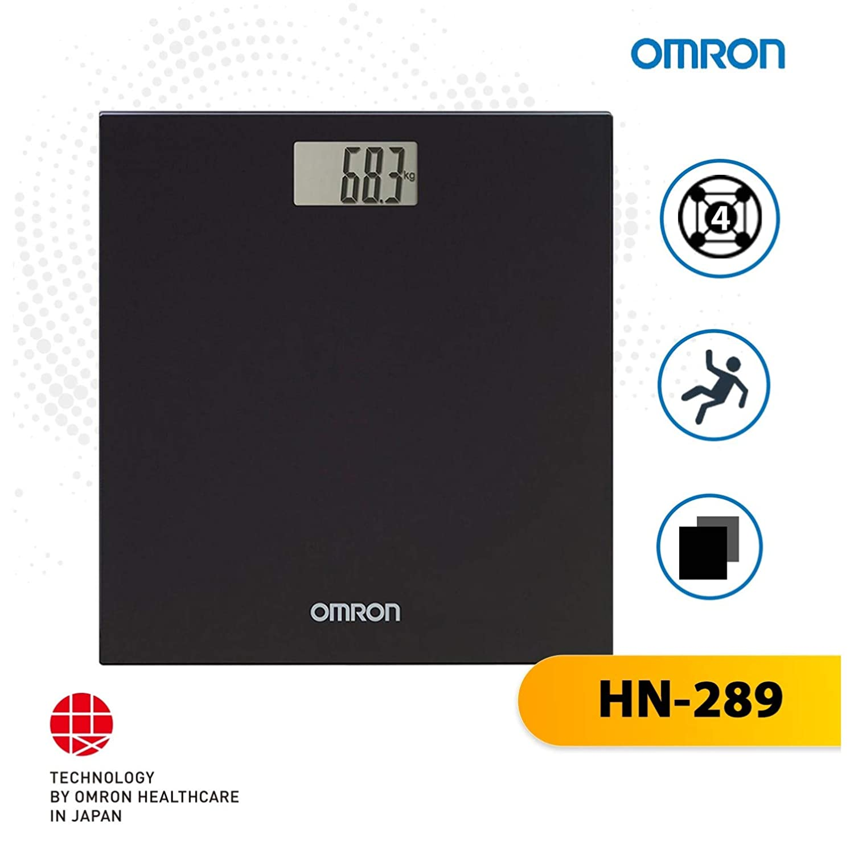 Omron Digital Personal Body Technology Weighing Slim Bathroom Scale Black HN289