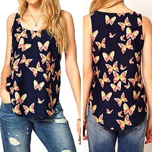 Landfox Butterfly Print Sleeveless Chiffon Tank Top Shirts Crew Vest (L)