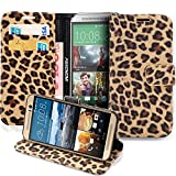 HTC One M9 Case, Pasonomi® LEOPARD Leather Wallet Flip Cover Stand Case for HTC One M9 (Brown)