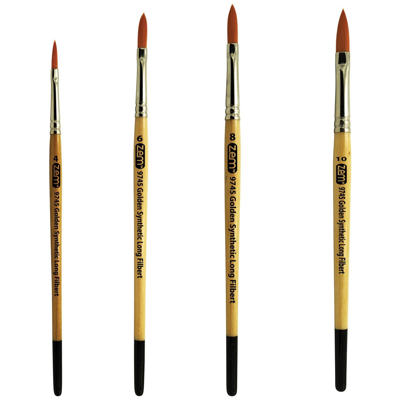 8 ZEM BRUSH Student Golden Synthetic Long Filbert 10 Cats Tongue Brush Set Sizes 4 6