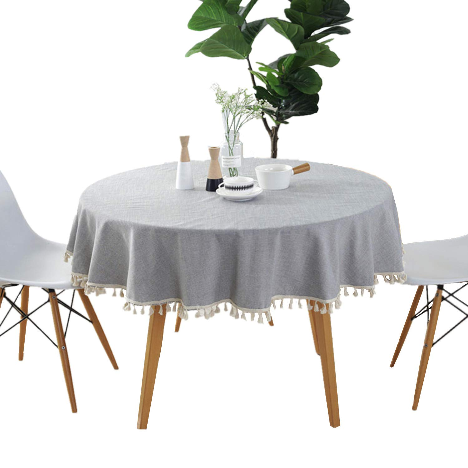 Surprising Round 60 Tablecloth Cotton Grey Tablecloth With Multi Tassels For Home Tabletop Decoration Home Interior And Landscaping Ponolsignezvosmurscom