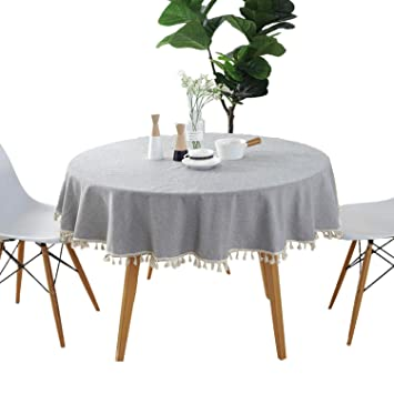 Wondrous Round 60 Tablecloth Cotton Grey Tablecloth With Multi Tassels For Home Tabletop Decoration Home Interior And Landscaping Ponolsignezvosmurscom