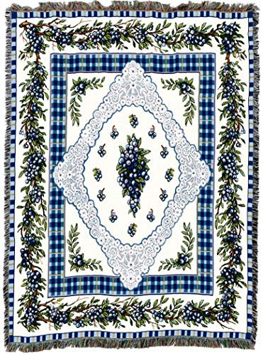 (Pure Country Weavers | Blueberry Lace Woven Tapestry Throw Blanket with Fringe Cotton USA 72x54)