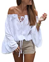 Fedi Apparel Women Gril Striped Off Shoulder Bowknot Blouses Ruffle Sleeve Shirt