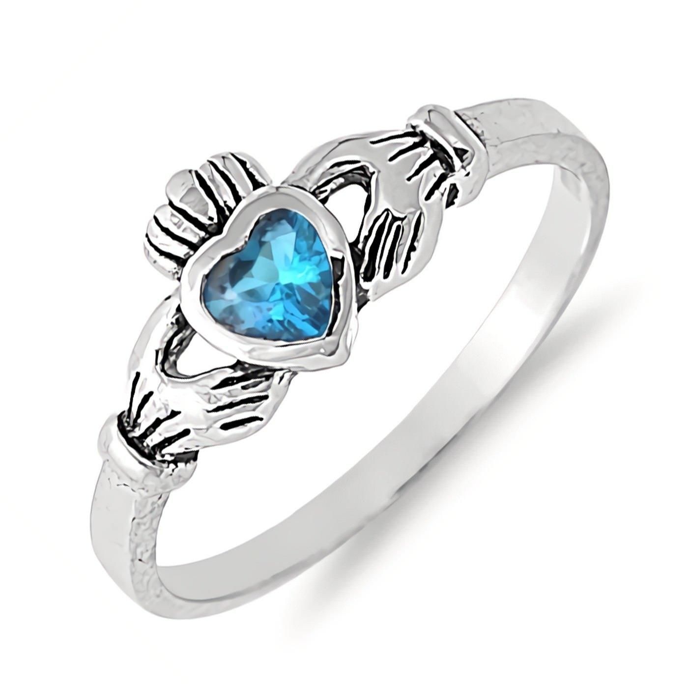 Traditional Irish Claddagh Ring Simulated Birthstone Sterling Silver Girls Womens Size 7 - Blue Topaz