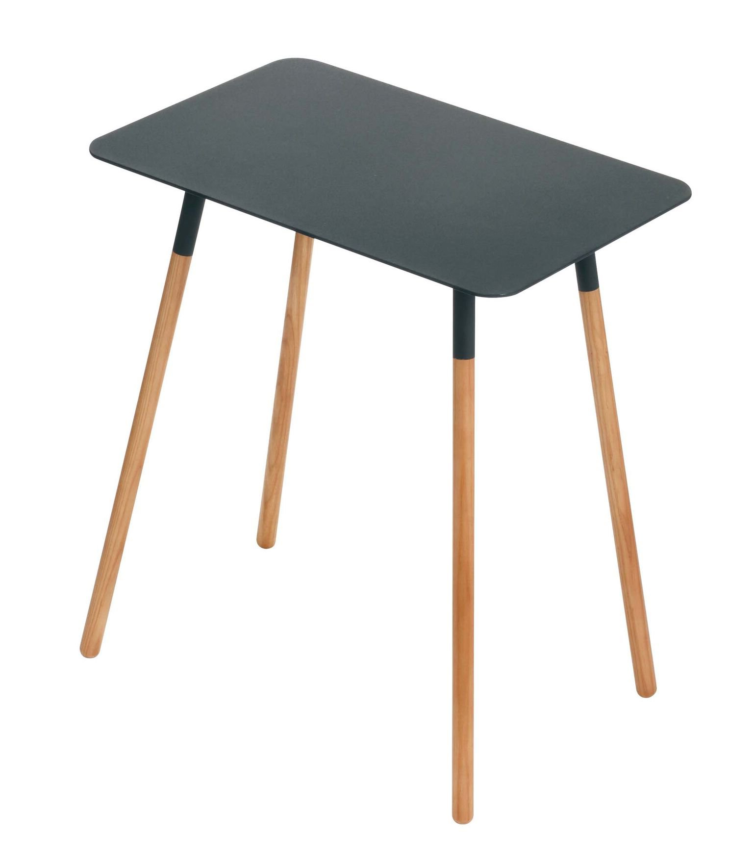 Red Co. Mid-Century Modern Minimalistic Rectangular Side Table, Wood & Steel, Black Top Finish, 20-inch - This multipurpose side table merges a traditional Japanese minimalism with a mid-century chic style that is sure to leave your guests in awe of its sheer simplistic beauty Ideal for use as an accent table next to your couch, love seat, or lay-z-boy recliner, with ample room to place a lamp, adorn with some books or other décor items, works as well for setting down your coffee mug, drinks or other glassware A space saving and compact size with a simple design makes it lightweight and easy to move around, so elegant it fits in anywhere as an end table, nightstand, sofa and console table, entryway table, or bedside table - living-room-furniture, living-room, end-tables - 61Gy3A8NSDL -