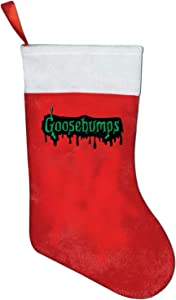 JorgAkem Goosebumps Logo Merry Christmas Stockings Socks Decor Holiday Santa Claus Sock for Xmas Ornaments Party Decorations Candy Gift Bags Treat Pouch 10.2x16.5 Inch