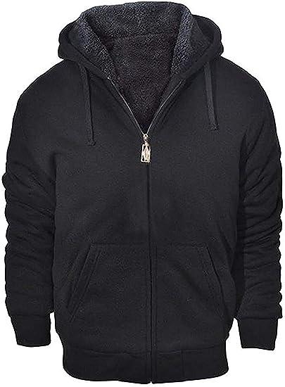 Fleece Hoodie Mens With Thermal Lined Hood Jacket Sweatshirt Zip Outerwear Warm