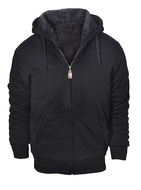 Geek Lighting Mens Zip Up Fleece Hoodie Winter Heavyweight Sherpa Lined Warm Jacket