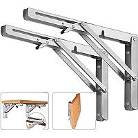 DAWNTREES Folding Shelf Brackets,12 Inch Heavy Duty, 2 Pcs Shelf Brackets, l Brackets for Shelves, Floating Shelf…
