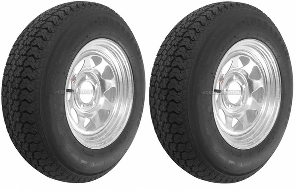 Two Trailer Tires & Rims ST205/75D14 2057514 F78-14 14'' 5 Lug Spoke Galvanized