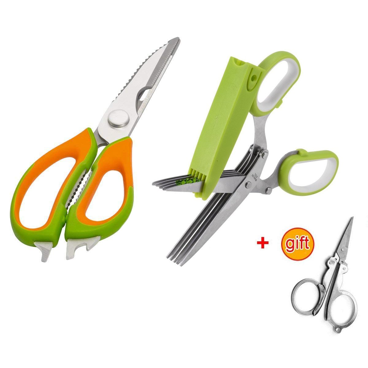 Jasni Kitchen Shears - Best Kitchen Scissors And 5-Blades Functional Utility Kitchen Shears with Cleaning Comb, Stainless Steel Sharp Cutter for Scallion, Mint, Rosemary, Vanilla, Herb, Chili