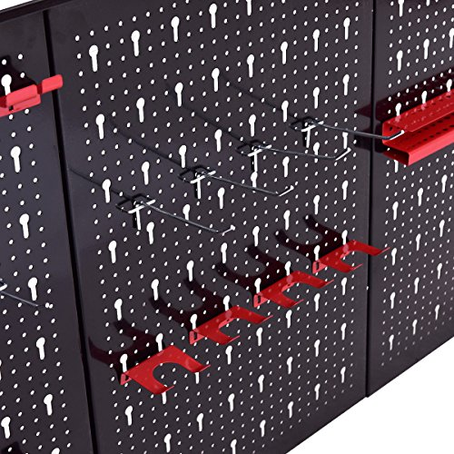24'' x 48'' Metal Pegboard Panels Garage Tool Board Storage Organizer Holder Black by allgoodsdelight365 (Image #6)