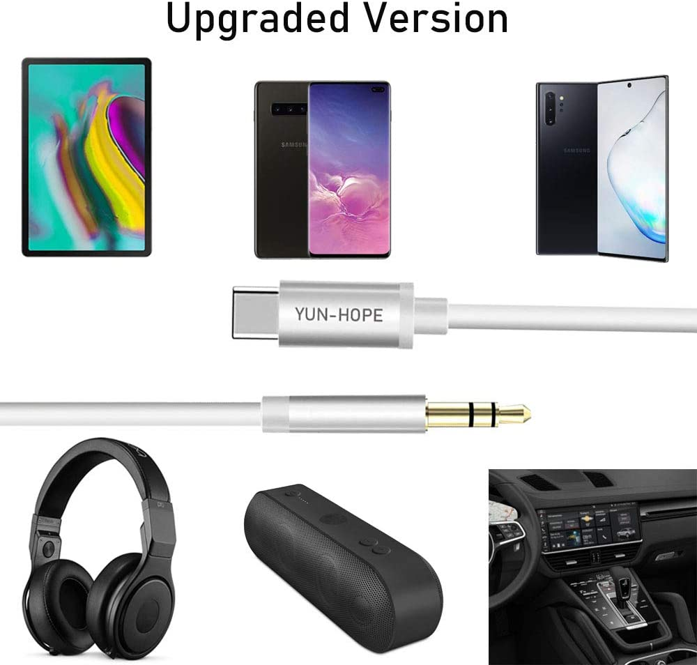 YUN-HOPE Type C to 3.5mm Aux Cord for Essential Phone to Car Stereo Speaker Headset Compatible Google Pixel 3//3 XL//OnePlus 6T//7 Pro USB C to 3.5mm Aux Hi-Fi Audio Cable White Moto iPad Pro