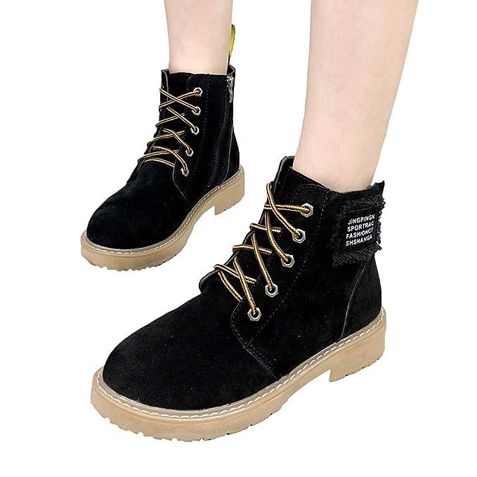 Amazon.com  Faionny Women Boots Matte Ankle Boots Flat Shoe Boots No-Slip  Women Shoes Lace-Up Single Boots Resistant Warm Snow Boots  Clothing ad8e2403ca0e